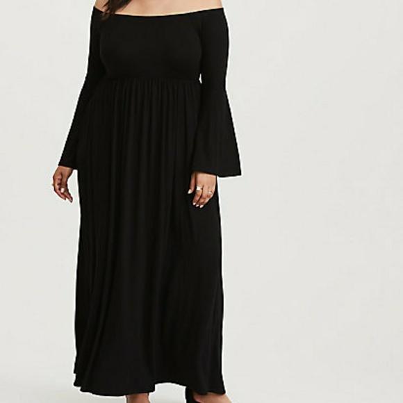7db762cbd02 Black Off Shoulder Jersey Maxi Dress